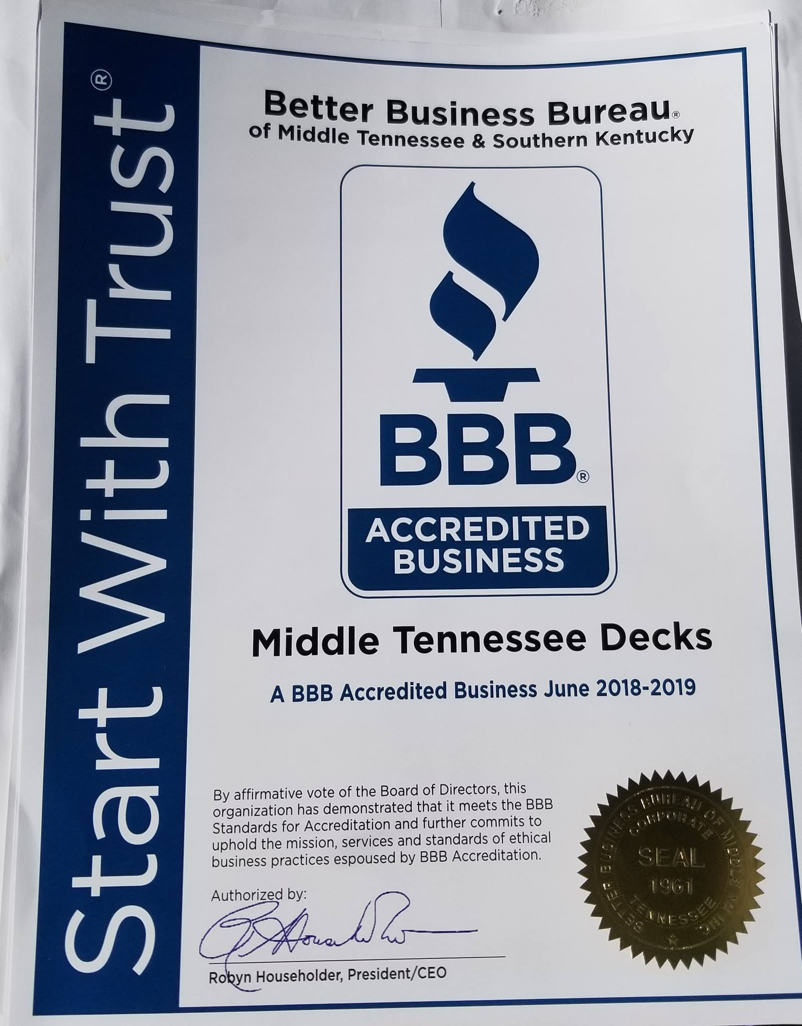Middle TN Decks is BBB Approved!